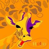 Giraffa sveglia su un fondo arancio ciao Fotografia Stock Libera da Diritti