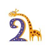 Giraffanseendet bredvid nummer två stiliserade det skraj djuret Royaltyfria Foton