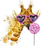 Giraffe γραφική παράσταση μπλουζών, giraffe και γλυκιά απεικόνιση καραμελών με το κατασκευασμένο υπόβαθρο watercolor παφλασμών ασ Στοκ εικόνα με δικαίωμα ελεύθερης χρήσης