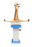 Giraffe διασκέδασης χαρακτήρας κινουμένων σχεδίων με το λεκτικό στάδιο απεικόνιση αποθεμάτων