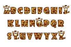 Giraffe κινούμενων σχεδίων εγγραφή πηγών abc μηχανικό καθορισμένο χρονοδιάγραμμα επιστολών αλφάβητου Στοκ φωτογραφία με δικαίωμα ελεύθερης χρήσης