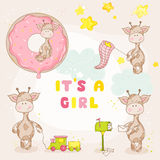 Giraffe κοριτσάκι σύνολο διανυσματική απεικόνιση