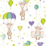 Giraffe μωρών υπόβαθρο πρότυπο άνευ ραφής Στοκ Εικόνες