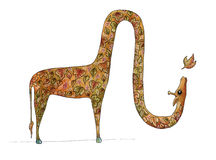 Giraffe φθινοπώρου που φυσά ένα φύλλο Απεικόνιση αποθεμάτων