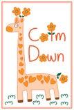 Giraffe χαριτωμένη ηρεμία λουλουδιών κάτω από το πλαίσιο απεικόνιση αποθεμάτων