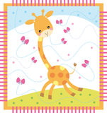 Giraffe. Funny card with cartoon giraffe vector illustration