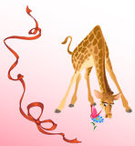 Giraffe. Cartoon giraffe looks at a flower.He stands on the widely-spaced legs.A butterfly sits on a flower.Red ribbon on a background.Additionally, a vector EPS Royalty Free Stock Images