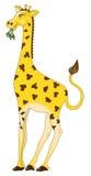 Giraffe. Cute giraffe eating leaves in babyish cartoon style vector illustration