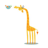 Giraffe και πουλί Στοκ φωτογραφία με δικαίωμα ελεύθερης χρήσης