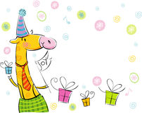 Giraffe. Greetings happy birthday, with free space for text, may be used as greeting card Stock Photography