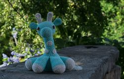 Close up of amigurumi giraffe royalty free stock image