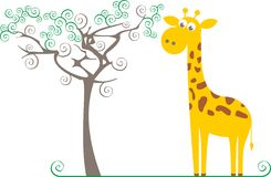 Giraffe And A Tree Stock Photos