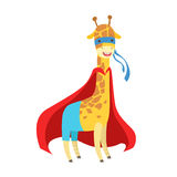 Giraffe Animal Dressed As Superhero With A Cape Comic Masked Vigilante Character. Part Of Fauna With Super Powers Flat Cartoon Vector Collection Of Royalty Free Stock Photos
