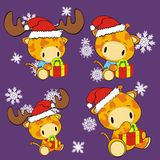 Giraffe baby cartoon xmas set Royalty Free Stock Photos