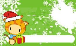 Giraffe baby claus cartoon background Stock Photos
