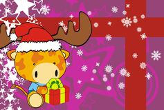 Giraffe baby claus cartoon xmas background Stock Photos