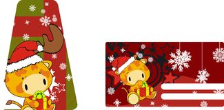 Giraffe baby claus cartoon xmas giftcard Royalty Free Stock Photos