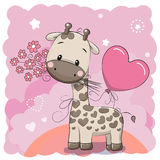 Giraffe with balloon and flowers Royalty Free Stock Photography