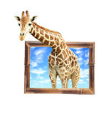 Giraffe in bamboo frame with 3d effect Stock Photo