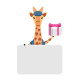 Giraffe banner with gift Stock Photography