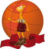 Giraffe, a basketball ball Royalty Free Stock Images
