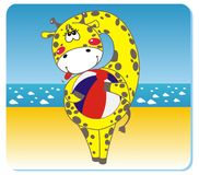 Giraffe on the beach. Vector illustration of giraffe with the ball on the beach Royalty Free Stock Image
