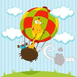 Giraffe and a bird in a balloon Royalty Free Stock Images