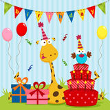 Giraffe and bird birthday. Vector illustration, Giraffe celebrating its birthday with the bird Stock Photo