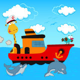 Giraffe and bird in a ship Royalty Free Stock Photography