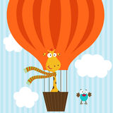 Giraffe and bird on hot air balloon. Vector illustration, eps Stock Images