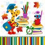 Giraffe bird school supplies. Illustration, eps Royalty Free Stock Photography
