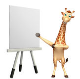 Giraffe cartoon character with easel board. 3d rendered illustration of Giraffe cartoon character with easel board Royalty Free Stock Photo