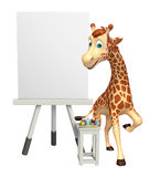 Giraffe cartoon character with easel board. 3d rendered illustration of Giraffe cartoon character with easel board Stock Image