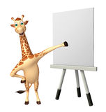 Giraffe cartoon character with easel board. 3d rendered illustration of Giraffe cartoon character with easel board Stock Images