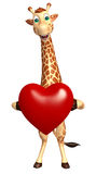 Giraffe cartoon character with heart Stock Images