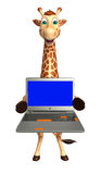 Giraffe cartoon character  with laptop Stock Image