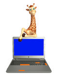 Giraffe cartoon character with laptop Royalty Free Stock Images