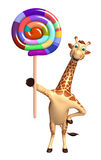 Giraffe cartoon character with lollypop Stock Image