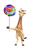 Giraffe cartoon character with lollypop Royalty Free Stock Images