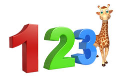 Giraffe cartoon character with 123 sign. 3d rendered illustration of Giraffe cartoon character with 123 sign vector illustration