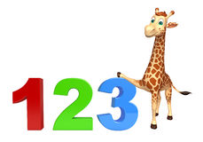 Giraffe cartoon character  with 123 sign. 3d rendered illustration of Giraffe cartoon character with 123 sign royalty free illustration