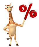 Giraffe cartoon character with % sign Royalty Free Stock Images