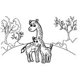 Giraffe cartoon coloring pages vector Stock Photo