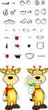 Giraffe cartoon expressions set flowers Stock Photography