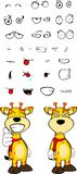 Giraffe cartoon expressions set good Royalty Free Stock Image