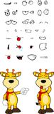Giraffe cartoon expressions set grumpy Stock Photos