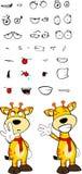 Giraffe cartoon expressions set happy Royalty Free Stock Photos