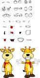 Giraffe cartoon expressions set hug Stock Images