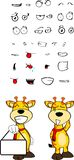 Giraffe cartoon expressions set singboard Royalty Free Stock Images