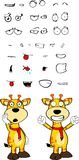 Giraffe cartoon expressions set winner Royalty Free Stock Image